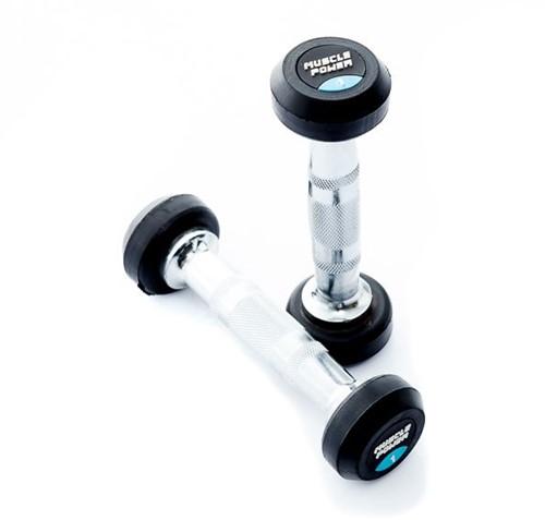 Muscle Power Ronde Rubberen Dumbbell - Per Stuk - 1 kg