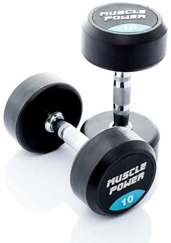 Muscle Power Ronde Rubberen Dumbbell - Per Stuk - 10 kg