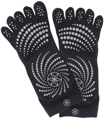 Gaiam Grippy Yoga Socks - Anti-slip Yogasokken - Zwart / Grijs