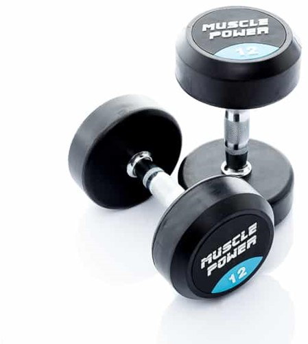 Muscle Power Ronde Rubberen Dumbbell - Per Stuk - 12 kg
