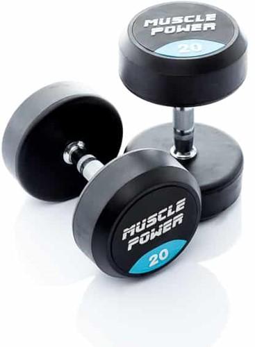 Muscle Power Ronde Rubberen Dumbbell - Per Stuk - 18 kg