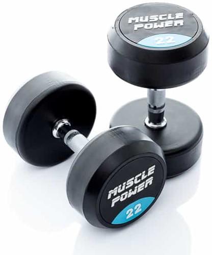 Muscle Power Ronde Rubberen Dumbbell - Per Stuk - 22 kg