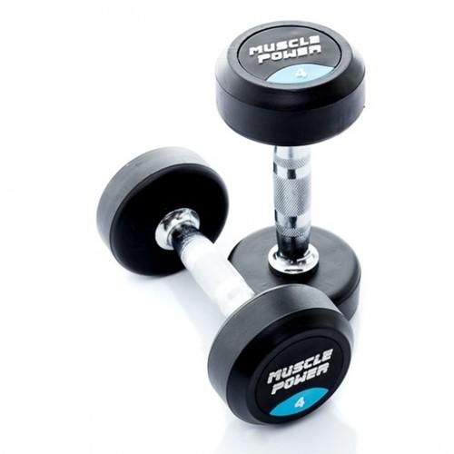 Muscle Power Ronde Rubberen Dumbbell - Per Stuk - 4 kg
