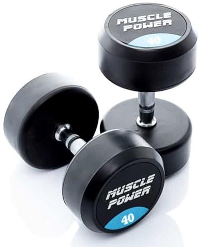 Muscle Power Ronde Rubberen Dumbbell - Per Stuk - 40 kg