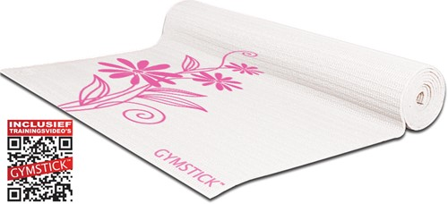 Gymstick emotion exercise mat pink/white - Met Draagband En Online Trainingsvideo