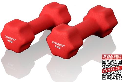 Gymstick Neopreen Dumbell Set 2 Kg met Trainingsvideo's