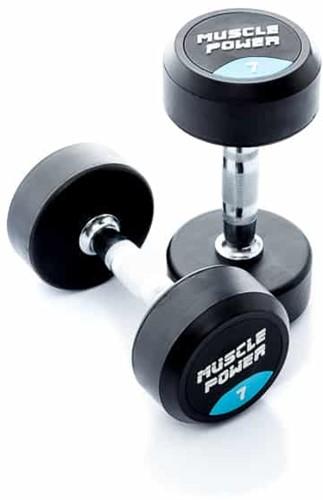 Muscle Power Ronde Rubberen Dumbbell - Per Stuk - 7 kg