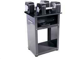 Ironmaster Quick-Lock Dumbbells 34 kg Met Rack