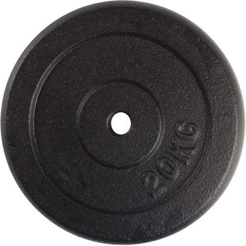 VirtuFit Gietijzeren Halterschijf - Halter gewicht - 30 mm - 20 kg - Zwart