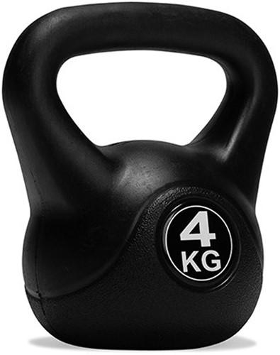 VirtuFit PVC Kettlebell - 4 kg - Zwart