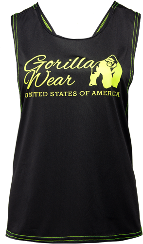 Gorilla Wear Odessa Cross Back Tank Top - Zwart/Neon Groen