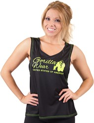 Gorilla Wear Odessa Cross Back Tank Top - Black/Neon Lime