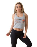 Gorilla Wear Oakland Crop Tank Gray/Neon Orange Camo-1