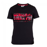 Gorilla Wear Sacramento V-Neck T-Shirt Black/Red-1