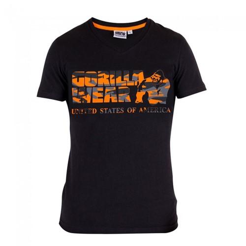 Gorilla Wear Sacramento V-Neck T-Shirt - Zwart/Neon Oranje