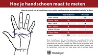 Harbinger handschoen maat tabel