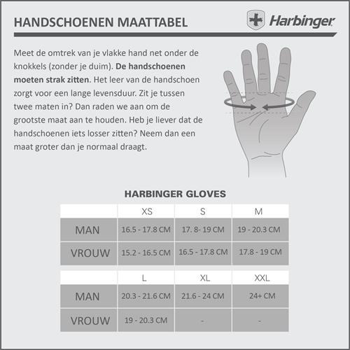 Harbinger BioFlex Gloves Maattabel