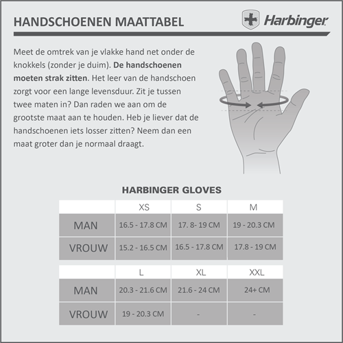 Harbinger BioForm Maattabel