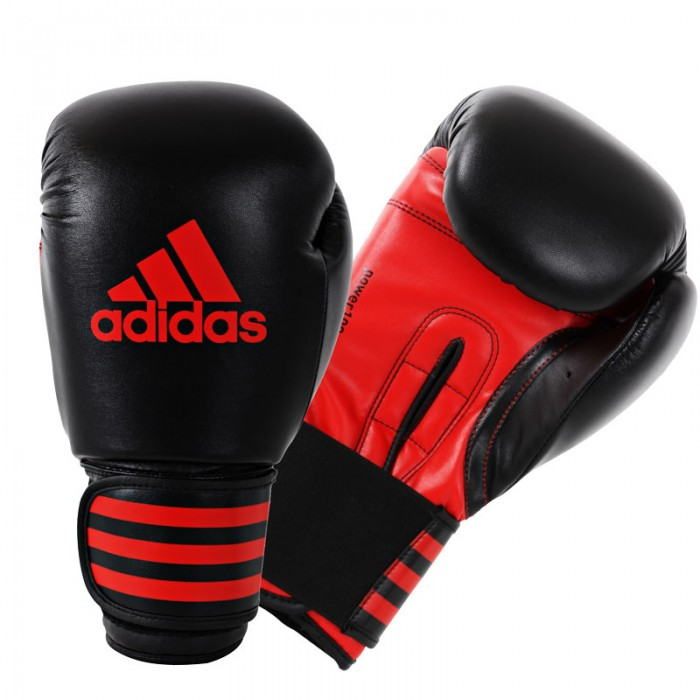Adidas Power 100 (Kick)Bokshandschoenen Zwart-Rood_14 oz