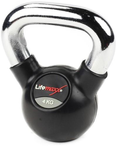 Lifemaxx Rubberen Kettlebell -  met Chromen Handvat - 4 kg