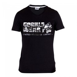 Gorilla Wear Sacramento V-Neck T-Shirt - Black/White