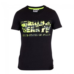 Gorilla Wear Sacramento V-Neck T-Shirt - Black/Lime Neon
