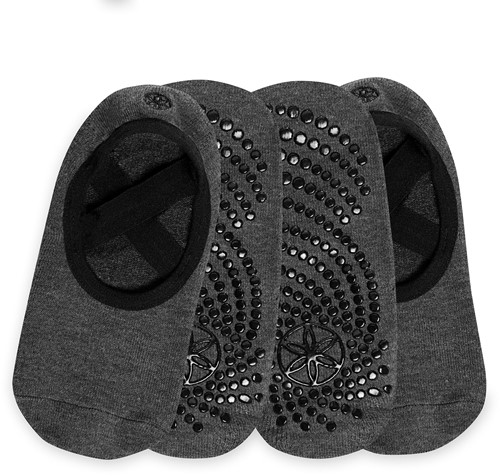 Gaiam Grippy Yoga Barre Socks - Anti-slip Yogasokken - 2-Pack - Granite