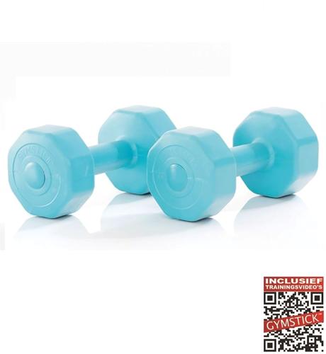 Gymstick Active Vinyl Dumbbells - Met Online Trainingsvideo's - 2 x 1 kg