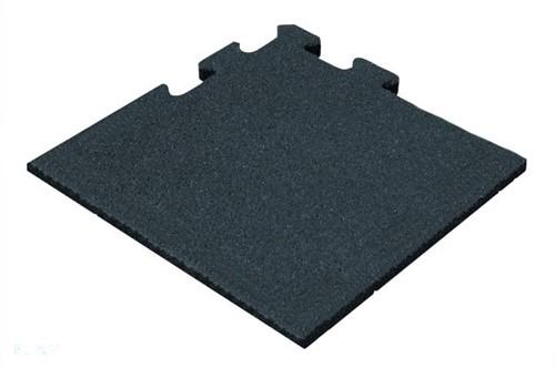 Rubber Tegel - Hoekstuk - Puzzelsysteem - 50 x 50 x 5 cm - Zwart