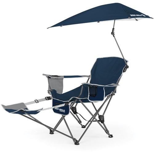 Sport-Brella Verstelbare Campingstoel - Visstoel - Strandstoel met Parasol - Blauw - Tweedekans