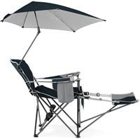 Sport-Brella Verstelbare Campingstoel - Strandstoel met Parasol - Blauw-2