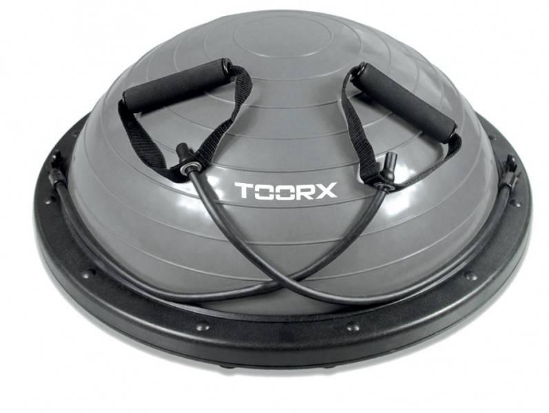 Toorx Fitness Toorx Balanstrainer PRO Ø 58 cm Zwart-Grijs met Resistance Tubes incl pomp